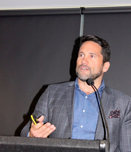 Dr Lance O'Sullivan speaking at ASB Arena, Mt Maunganui